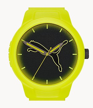 PUMA Reset V2 Three-Hand Neon Yellow Polyurethane Watch