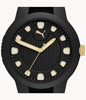PUMA Reset V1 Three-Hand Black Silicone Watch