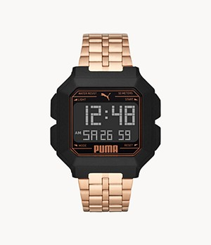 PUMA Remix LCD Rose Gold-Tone Stainless Steel Watch