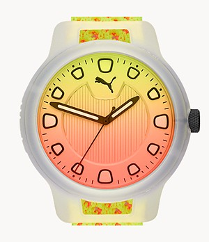 PUMA Reset V1 Three-Hand Reversible Fizzy Yellow and Energy Peach Knit Watch