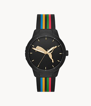 PUMA Reset V1 Three-Hand Multicolor Silicone Watch