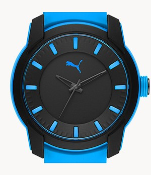 PUMA Analog Three-Hand Blue Silicone Watch