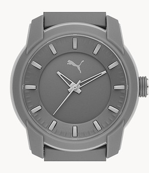 PUMA Analog Three-Hand Gray Silicone Watch