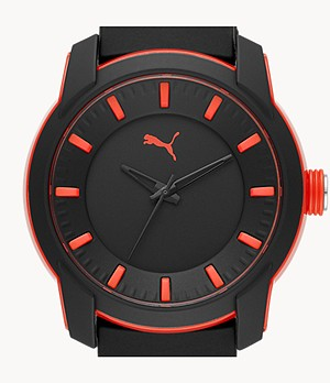 PUMA Analog Three-Hand Black Silicone Watch