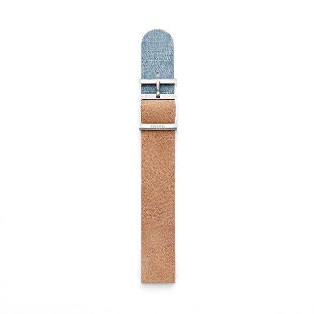 Reversible Leather 18mm Watch Strap - Bone and Denim
