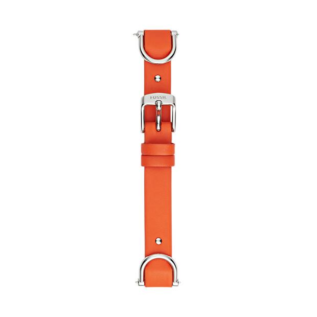 Leder-/Edelstahlband für Damenuhr 18 mm - Rot