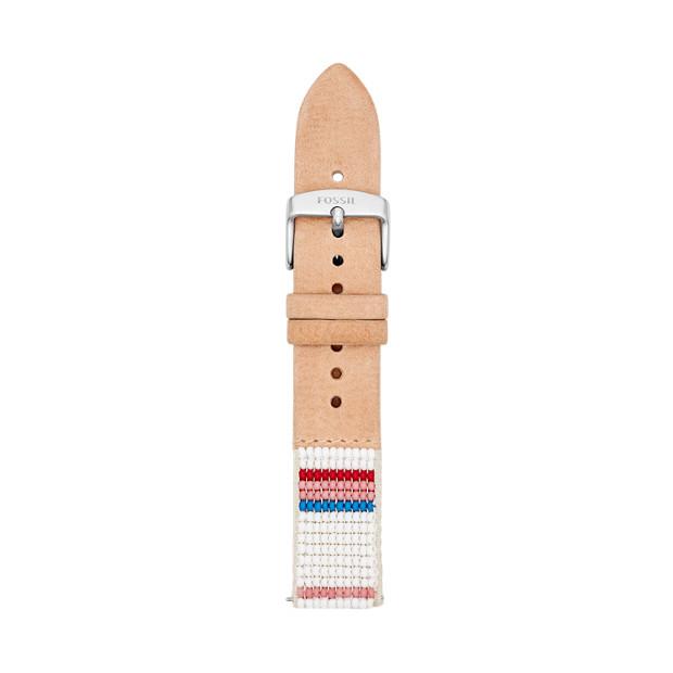 Bracelet de montre interchangeable Fossil x Me to We en cuir brun clair 18mm