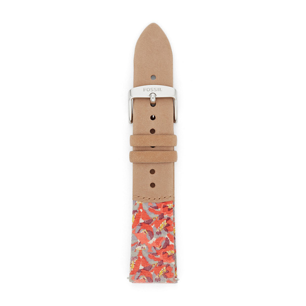 Light Brown Leather and Canvas 20 mm Watch Strap