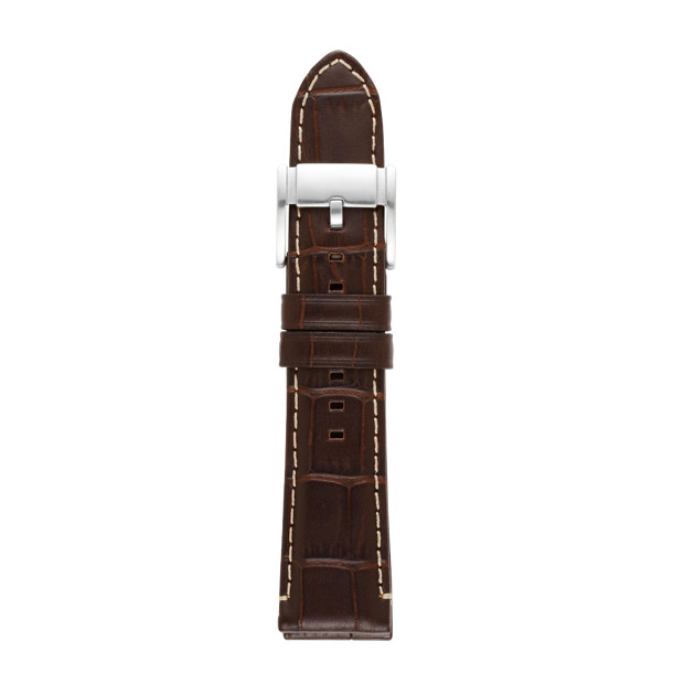 Embossed 22mm Leather Watch Strap - Brown