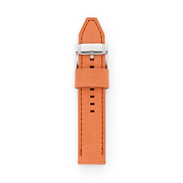22mm Orange Leather Watch Strap
