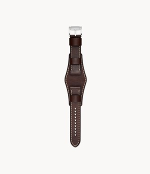 22mm Dark Brown Leather Watch Strap