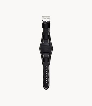 22mm Black Leather Watch Strap