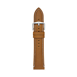 22mm Light Brown Leather Watch Strap