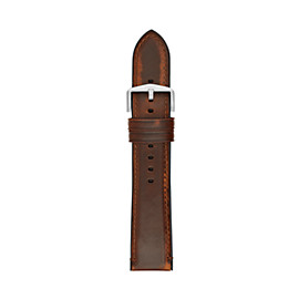 Estate 22 mm Dark-Brown Leather and Silicone Watch Strap