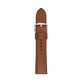 Estate 22 mm Light-Brown Leather and Silicone Watch Strap