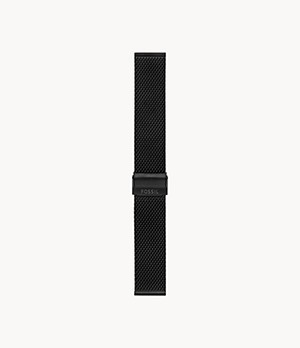 22mm Black Stainless Steel Mesh Bracelet