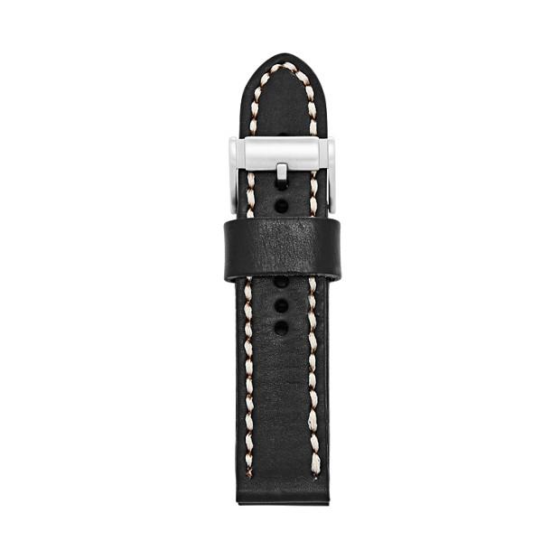 24mm Black Leather Watch Strap