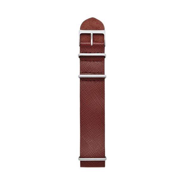Saffiano Leather  Watch Strap - Burgundy