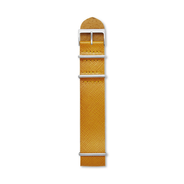 Saffiano Leather 24mm Watch Strap - Mustard