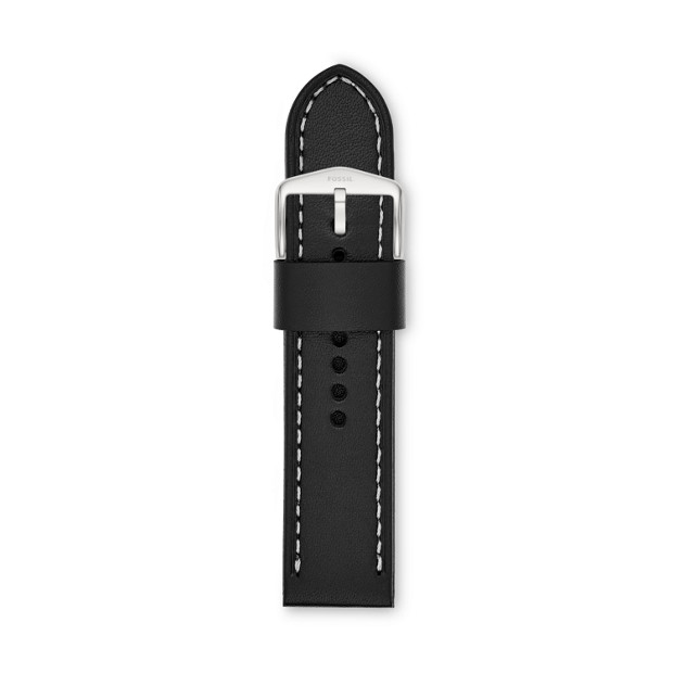24mm Black Leather Watch Strap