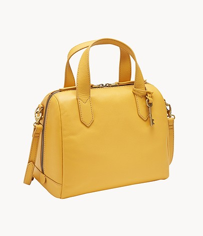 Fossil Golden Yellow Fiona Leather Women's Satchels