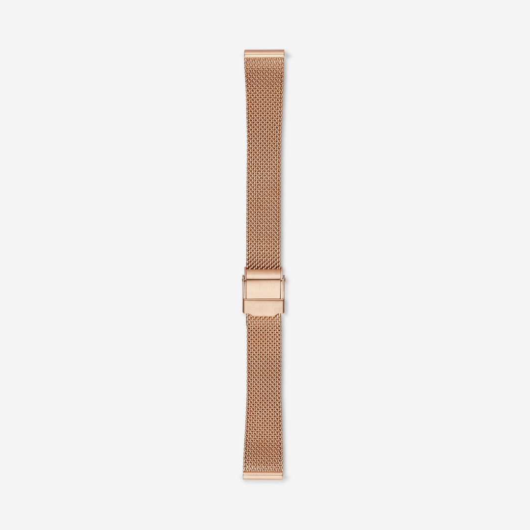 Instantly update your watch with this polished rose-gold-tone steel-mesh strap. Designed to fit any watch with a 14mm standard band, the strap is finished with a brushed clasp and a quick-release pin for easy attachment.    *Before placing your final order, please make sure the band widths of your selected watch case and strap match.