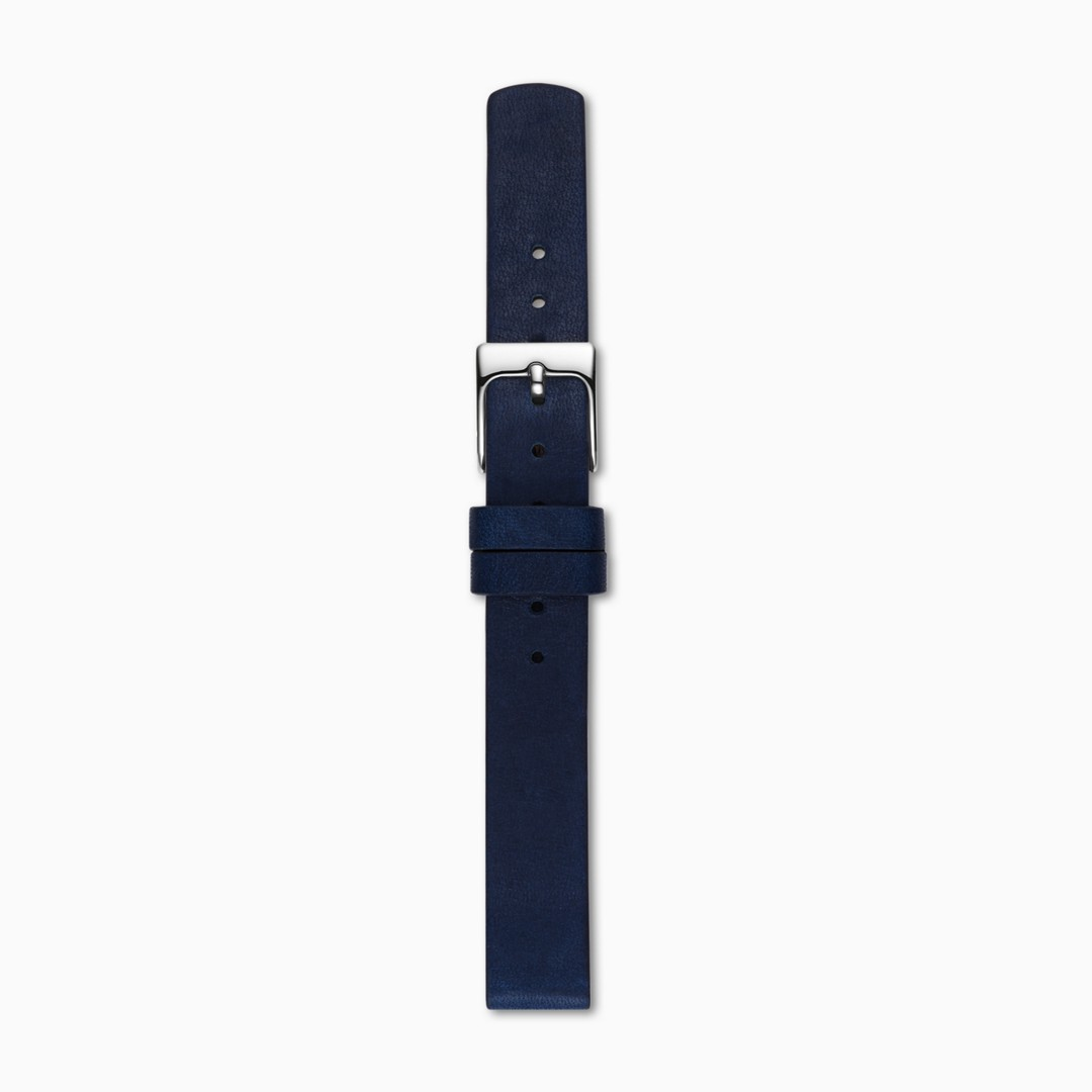 Instantly update your watch with this navy blue leather strap. Designed to fit any watch with a 12mm standard band, the strap is finished with a polished clasp and a quick-release pin for easy attachment.    *Before placing your final order, please make sure the band widths of your selected watch case and strap match.