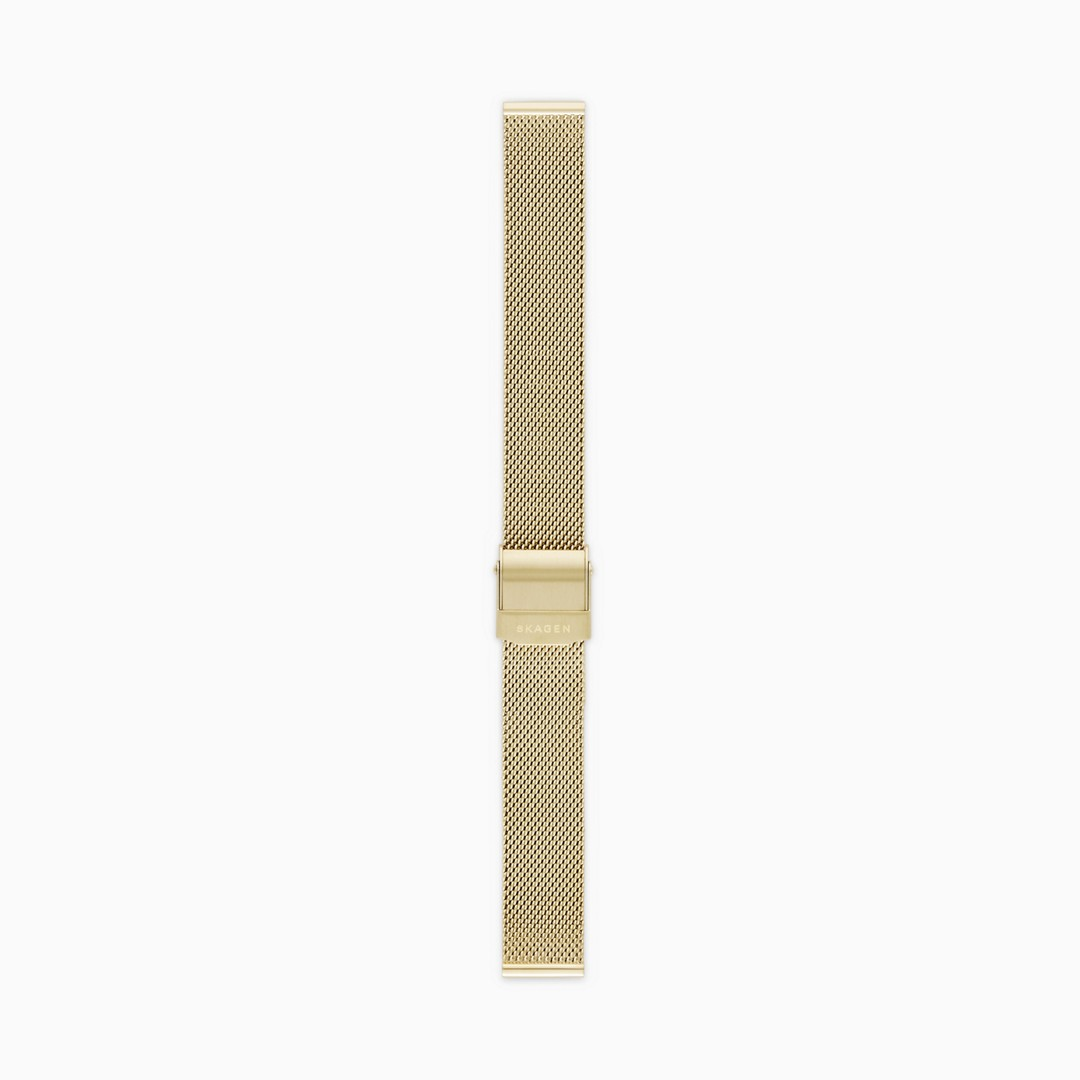 Instantly update your watch with this gold-tone steel-mesh strap. Designed to fit any watch with a 14mm standard band, the strap is finished with a brushed clasp and a quick-release pin for easy attachment.