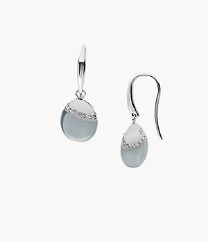 Sea Glass Silver-Tone Crystal Earrings