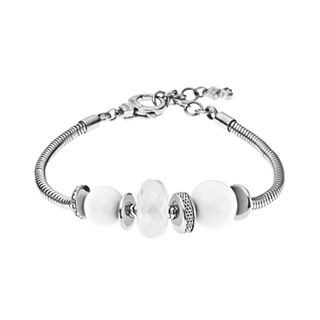Sea Glass Silver-Tone Beaded Bracelet