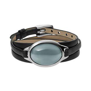 Sea Glass Silver-Tone Leather Wrap Bracelet