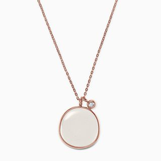 White Sea Glass Rose-Gold-Tone Pendant Necklace