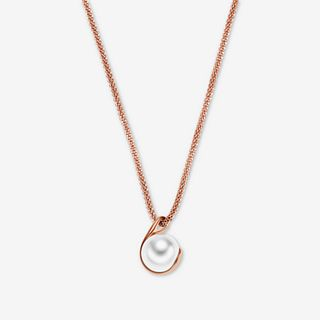 Agnethe Rose Gold-Tone Crystal Pearl Pendant Necklace