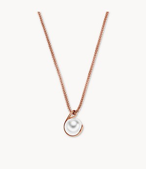 Agnethe Rose-Tone Crystal Pearl Pendant Necklace