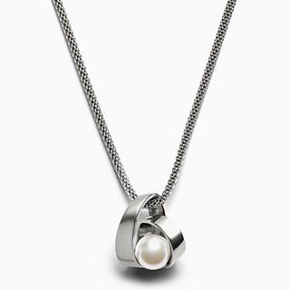Agnethe Pearl Silver-Tone Pendant Necklace
