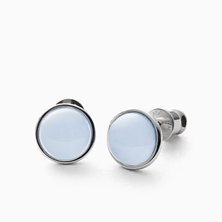 Sea Glass Silver-Tone Stud Earrings