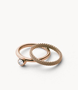 Elin Rose Gold Tone Crystal Ring
