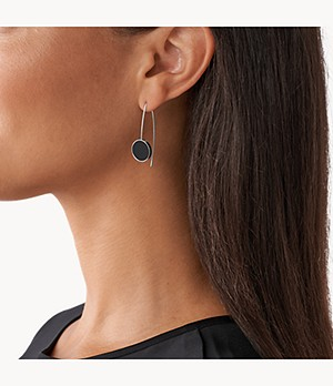 Ellen Onyx Hook Earrings