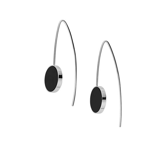 Ellen Onyx Hook Earrings