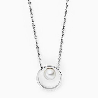 Agnethe Short Silver-Tone Pearl Pendant Necklace
