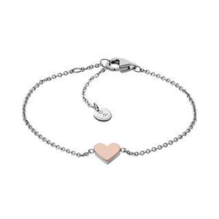 Katrine Two-Tone Heart Pendant Bracelet