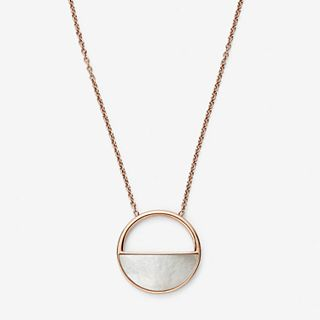 Agnethe Rose-Gold-Tone and Mother-of-Pearl Short Pendant Necklace
