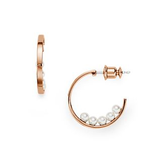 Agnethe Micro-Pearl Rose-Gold-Tone Hoops