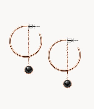 Ellen Rose-Tone and Onyx Dangle Hoop Earring