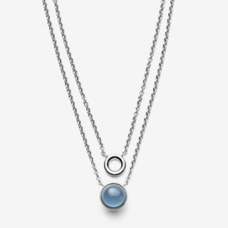 Sea Glass Silver-Tone Layered Pendant Necklace