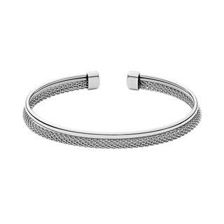 Merete Silver-Tone Mixed Material Cuff