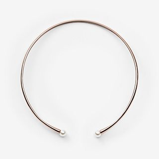 Agnethe Rose Gold-Tone Pearl Collar Necklace