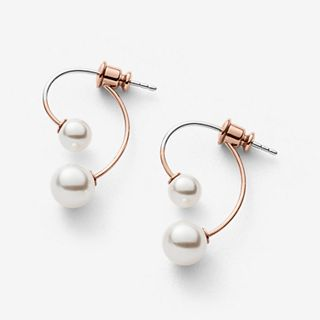 Agnethe Rose Gold-Tone Pearl Earrings