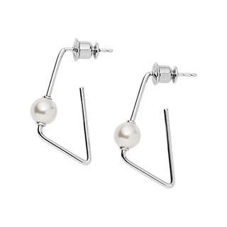 Agnethe Angular Silver-Tone Pearl Earrings