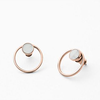 Agnethe Rose-Tone Mother-of-Pearl Earrings